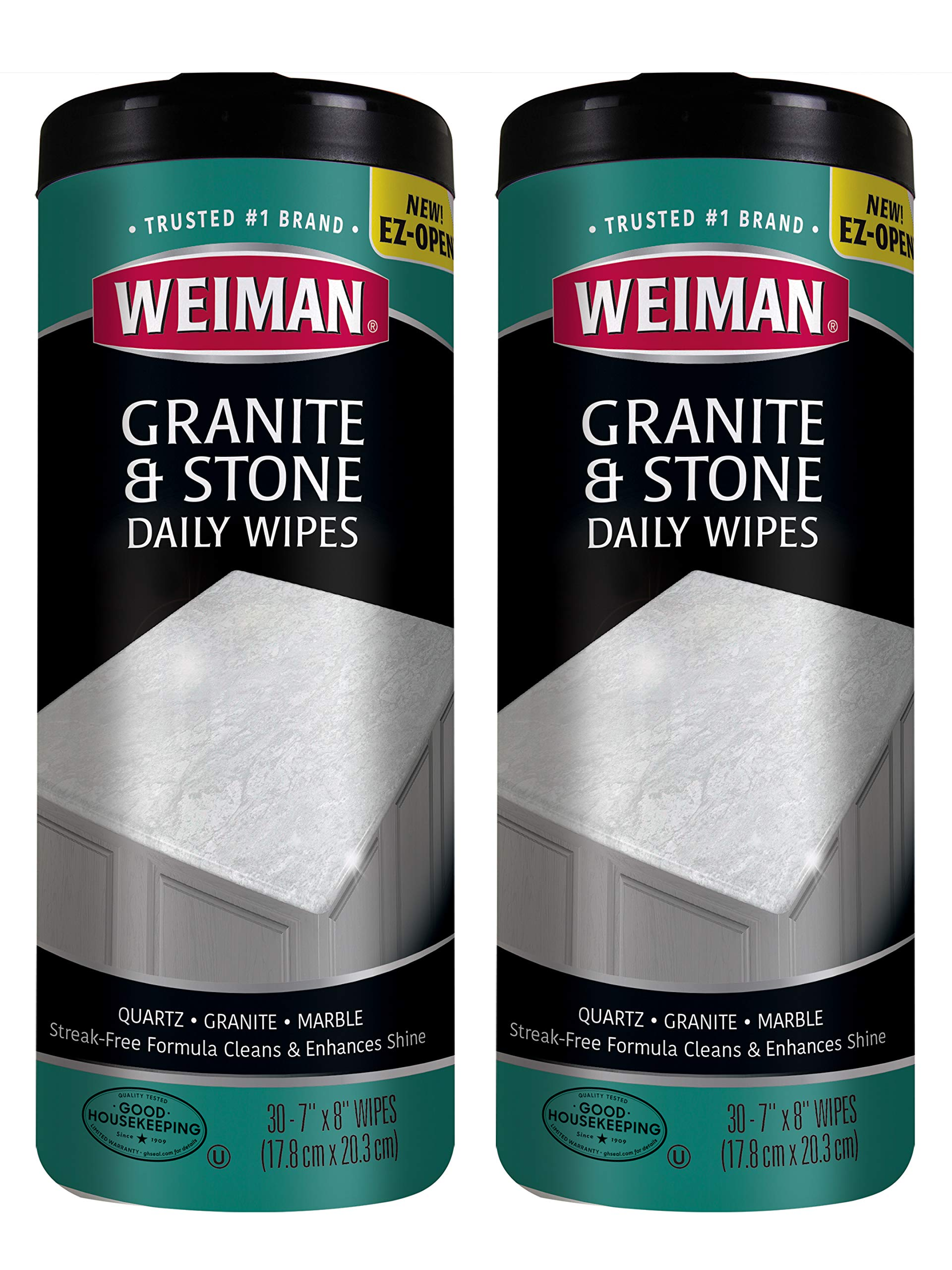 Weiman Granite Wipes - Clean, Brighten, and Protects Solid Sealed Stone Surfaces - 30 Count (2 Pack) by Weiman