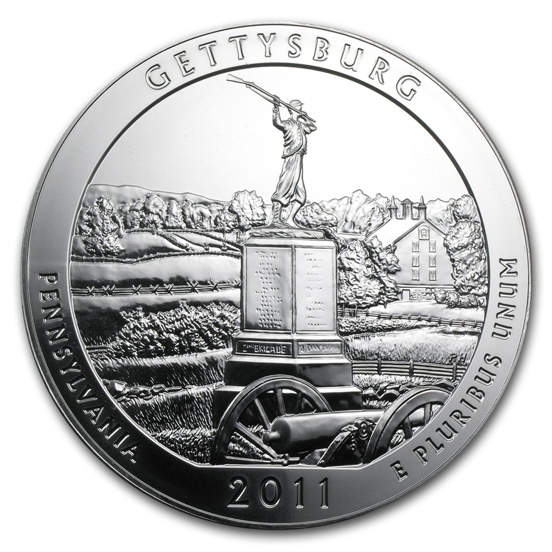 America The Beautiful Series US Mint 5 oz 2011 Gettysburg Silver