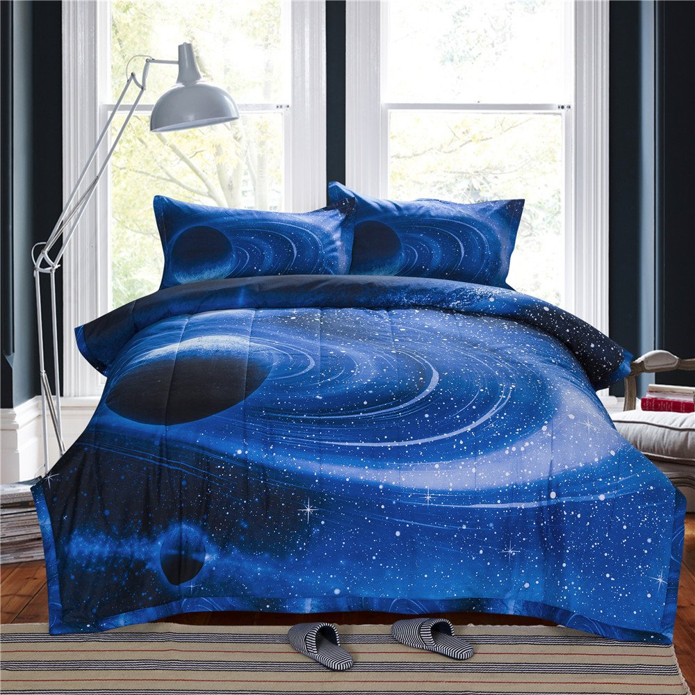 NTBED 3D Galaxy Comforter Sets Full Size,Outer Space Reversible Quilted Bed Sets, Ultra Soft Microfiber Teen Bedding for Children's Bedroom