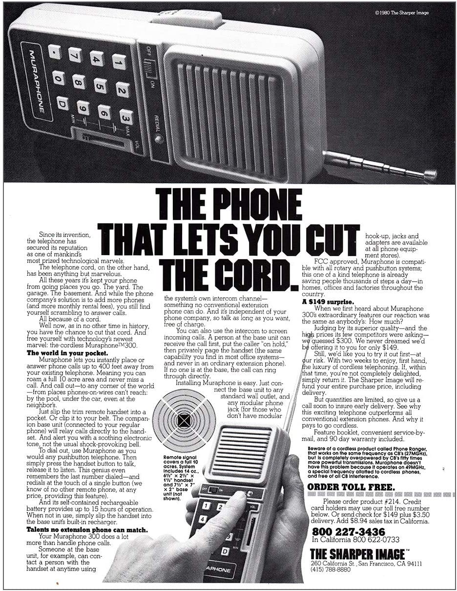 RelicPaper 1980 Sharper Image: Phone That Lets You Cut The Cord, Sharper Image Print Ad