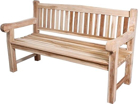 CHICREAT - Banco de tres asientos de madera de teca estable, banco de jardín de madera de teca, aproximadamente 150 cm de ancho: Amazon.es: Jardín