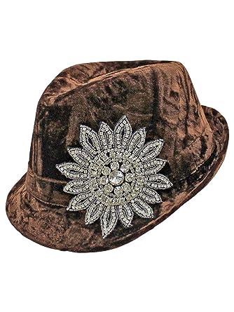 Luxury Divas Brown Velvet Rhinestone Jeweled Flower Fedora Hat at ... f7cebe3152c