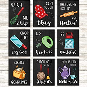 Zonon 9 Pieces Funny Kitchen Art Print Unframed Kitchen Quote Signs Poster Kitchenware Art Decor with Sayings for Farmhouse Kitchen Dining Baking Room Restaurant