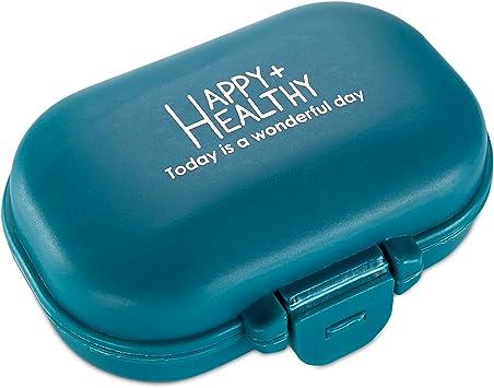 Organizador de pastillas- Caja de cuatro compartimientos. Organizador de vitaminas para el uso diario en bolsillo o cartera: Amazon.es: Salud y cuidado personal