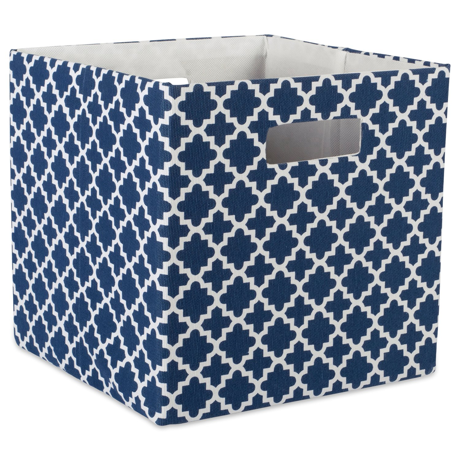 "DII Hard Sided Collapsible Fabric Storage Container for Nursery, Offices, & Home Organization, (13x13x13"") - Lattice Nautical Blue"