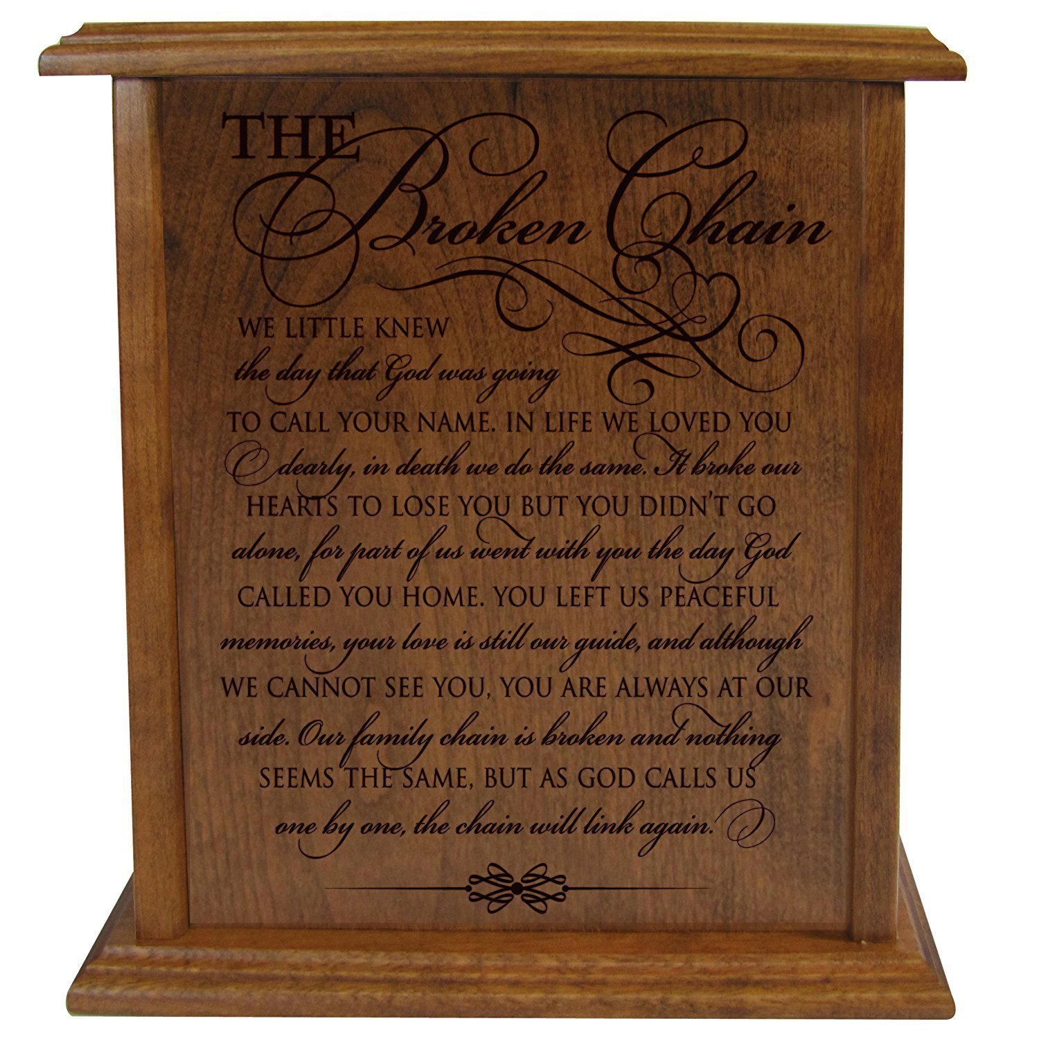 The Broken Chain Keepsake Funeral Cremation Urn for Human Adult Ashes Hand Made in Solid Cherry Wood Hand Finished and Laser Engraved Wooden Cremation Urn in Home or Niche at Columbarium LifeSong Milestones 63939NP