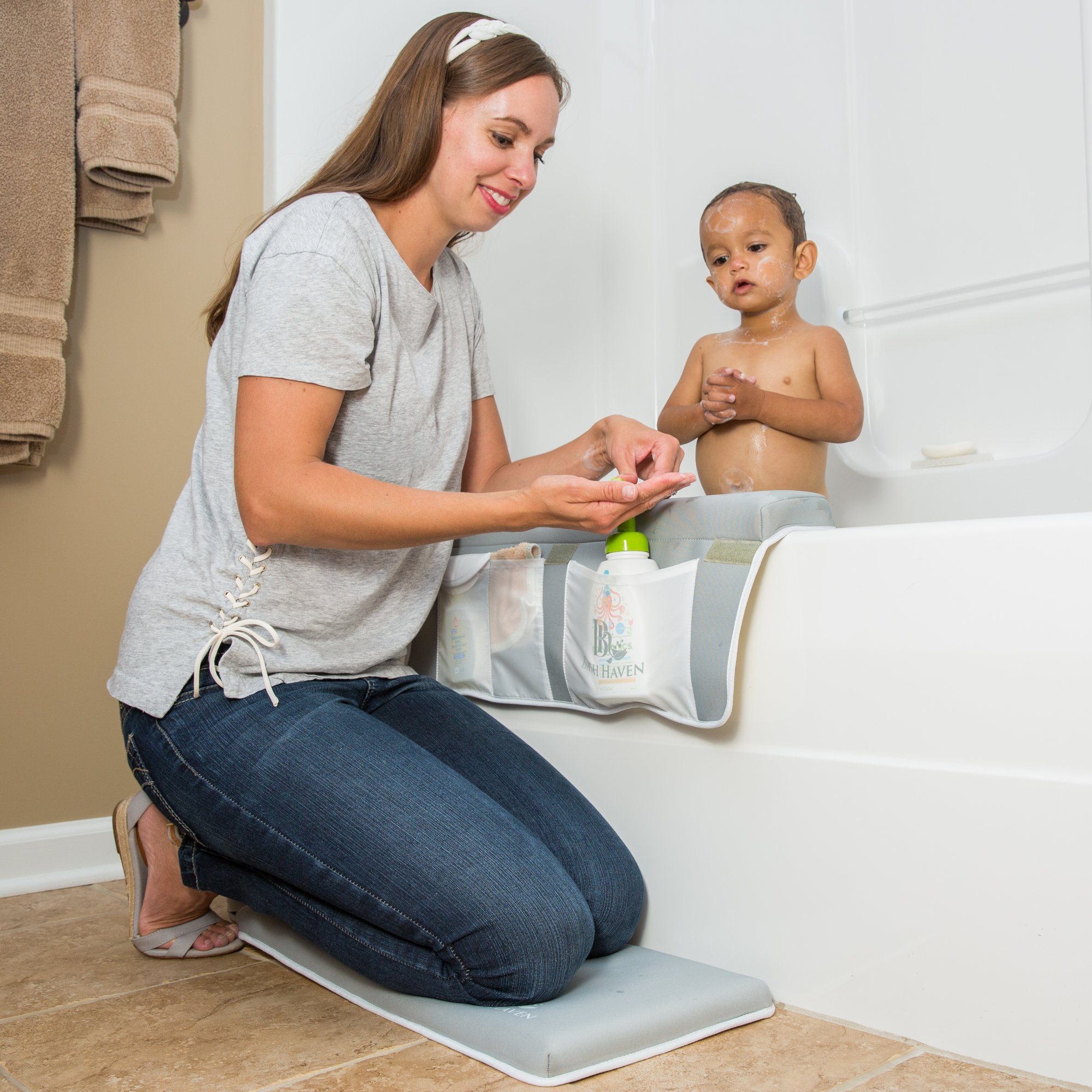 Premium Bath Kneeler and Elbow Rest, 1.5 inch Thick Knee Pad and Elbow Support with Extra Strength Suction Cups for Bathtub Comfort & Safety with Your Baby by Bath Haven (Image #1)