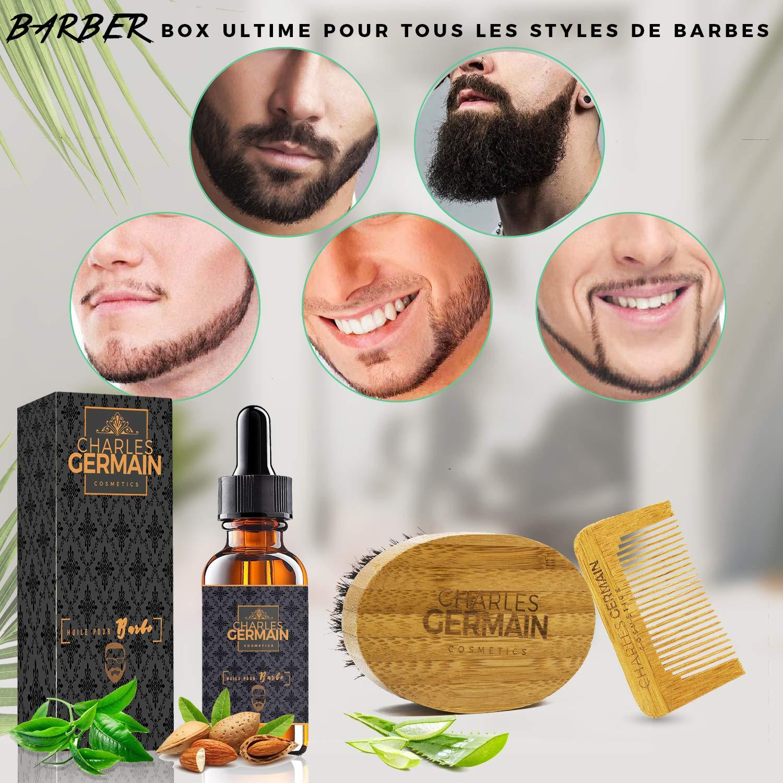 Kit de algodón par Charles Germain Cosmetics, cepillo de la barba (cerdas de jabalí, peine de la barba y de bigote, aceite para la barba Revitalizante, ...