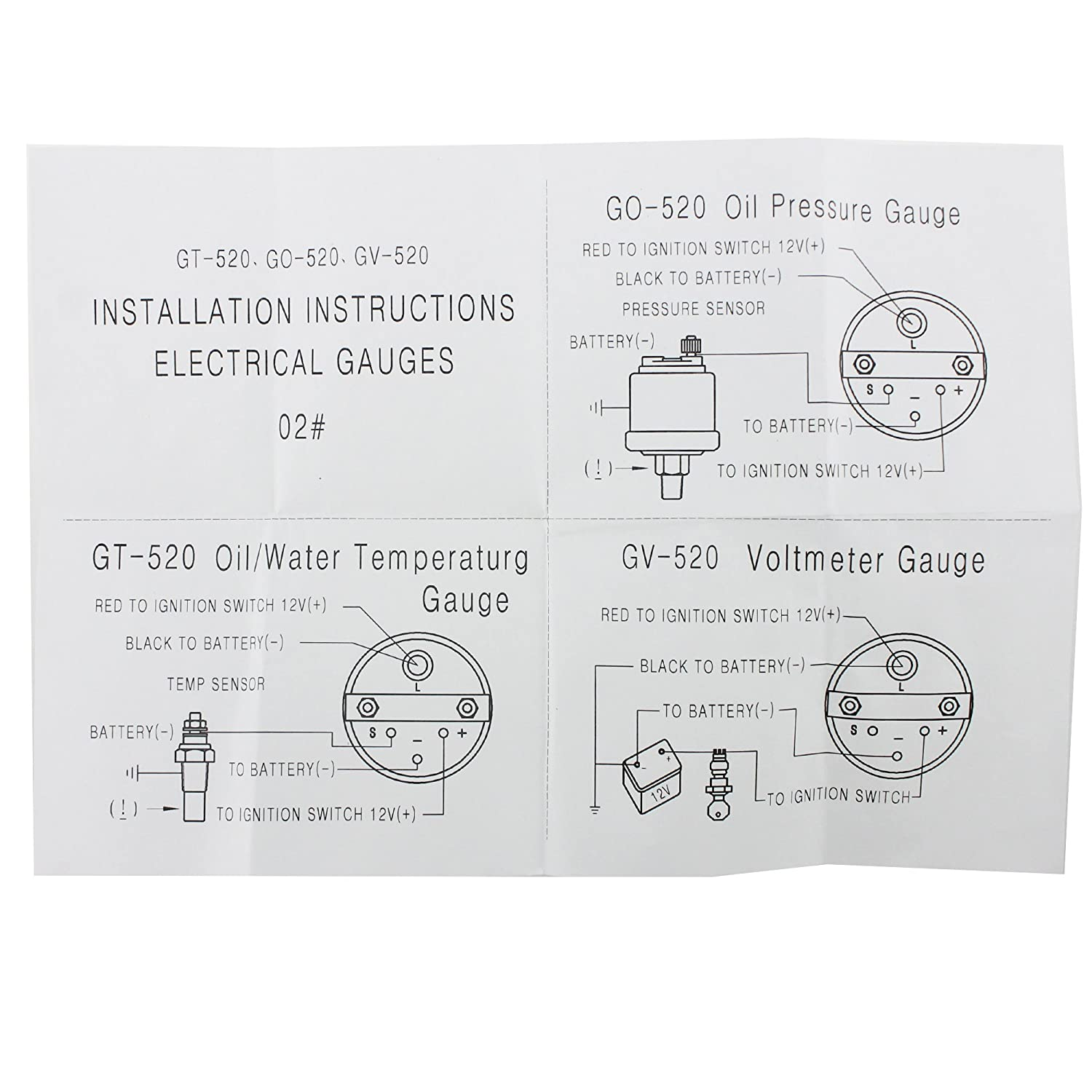 Ambuker 52mm Oil Temp Gauge With Sensor 50150 2 Car Temperature Go Back Gt Gallery For Parallel Circuit Diagram Two Batteries Universal Auto Meter