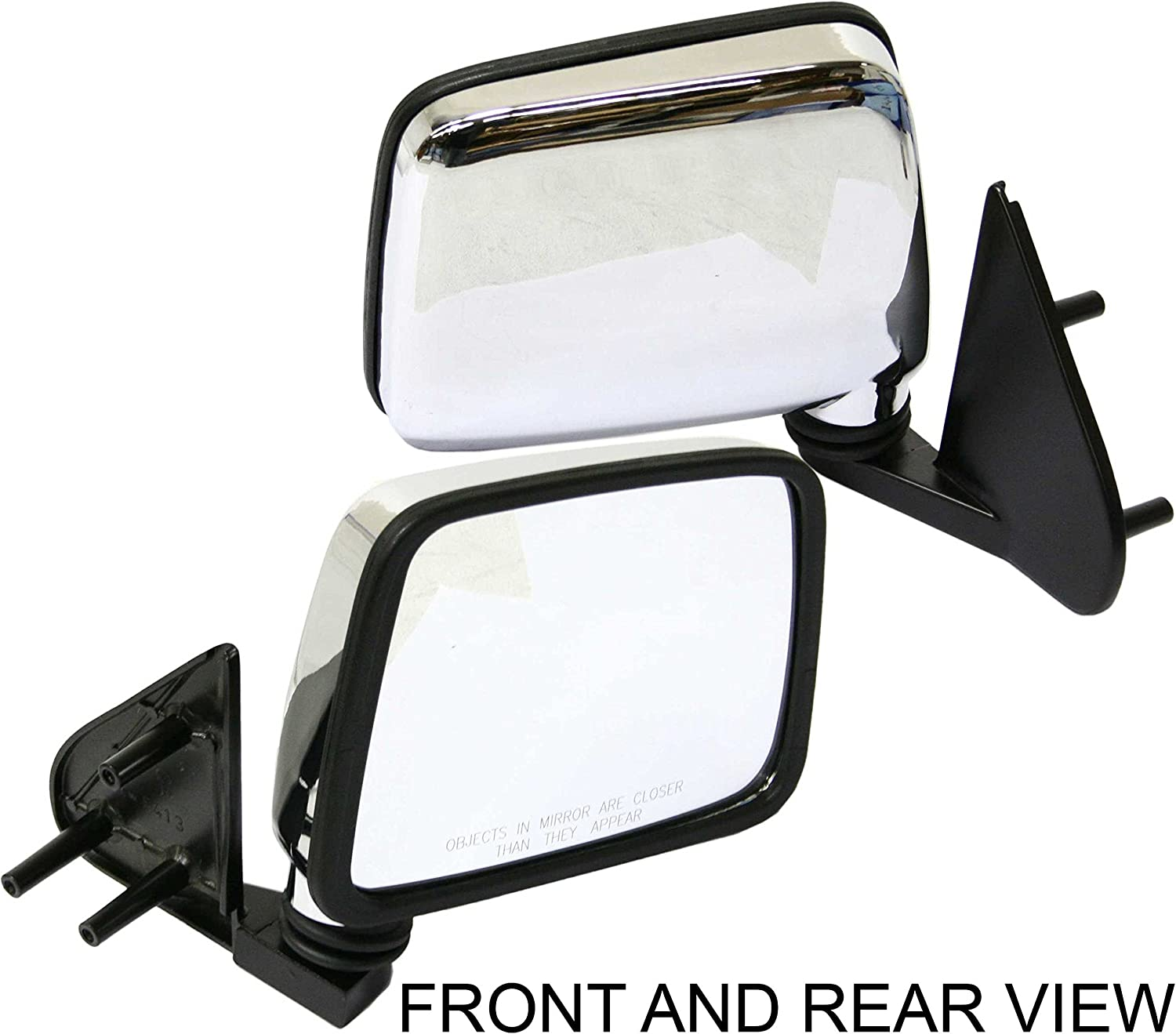 Manual Mirror compatible with Nissan Pickup 86-97 Right and Left Side Manual Folding Chrome