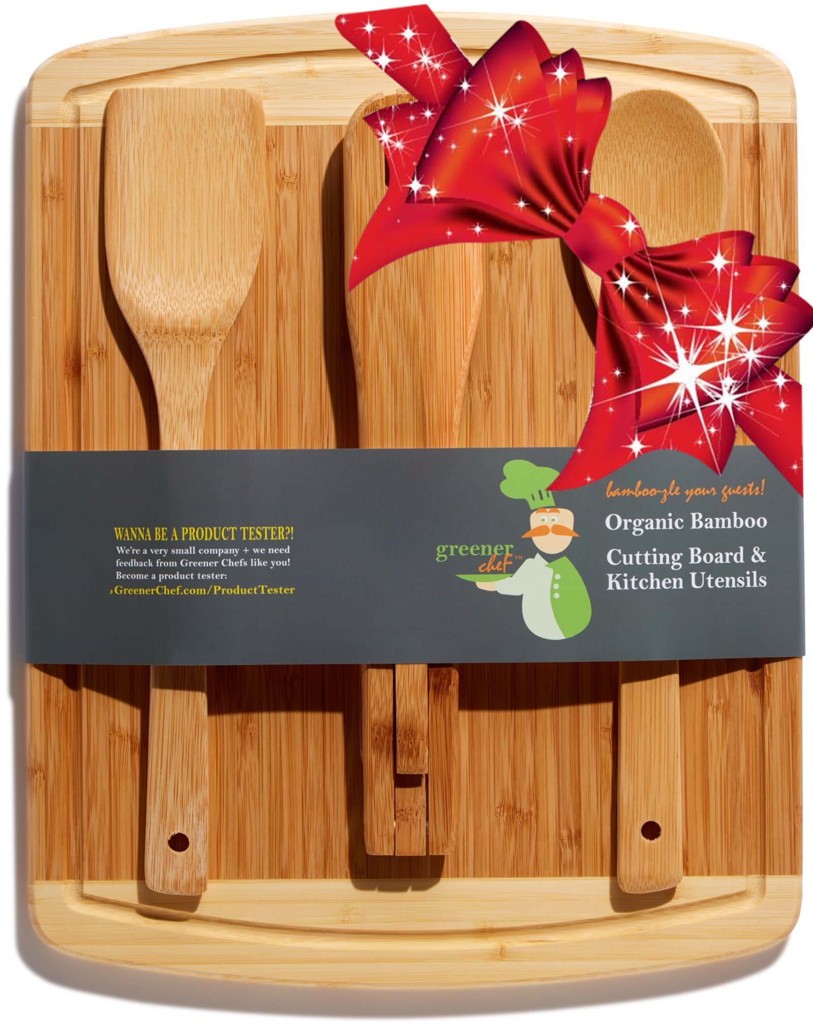 Bamboo Cutting Board & Cheese Board Housewarming Gifts Set - For Mothers Day Gift, Wedding Gift, Personalized Gifts & Bridal Shower Gift Idea - Best Wood Cutting Boards for Kitchen - 3 BONUS Utensils