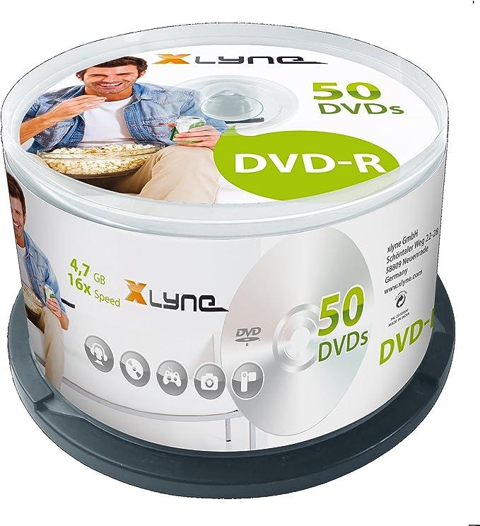 Xlyne DVD-R 4.7GB 50 Pack - DVD+RW vírgenes (4,7 GB, DVD-R, 16x, Caja para Pastel): Amazon.es: Informática