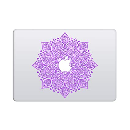 Laptop stickers macbook decal removable vinyl decal with glowing apple logo diecut mandala decal