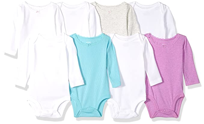 0b186f66b2dd Amazon.com  Carter s Baby Girls  8-Pack Long-Sleeve Bodysuits