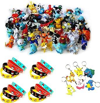Funnyshow 70 Piezas Pokemon Figuras Pack, 48 Monster Mini Figuras ...