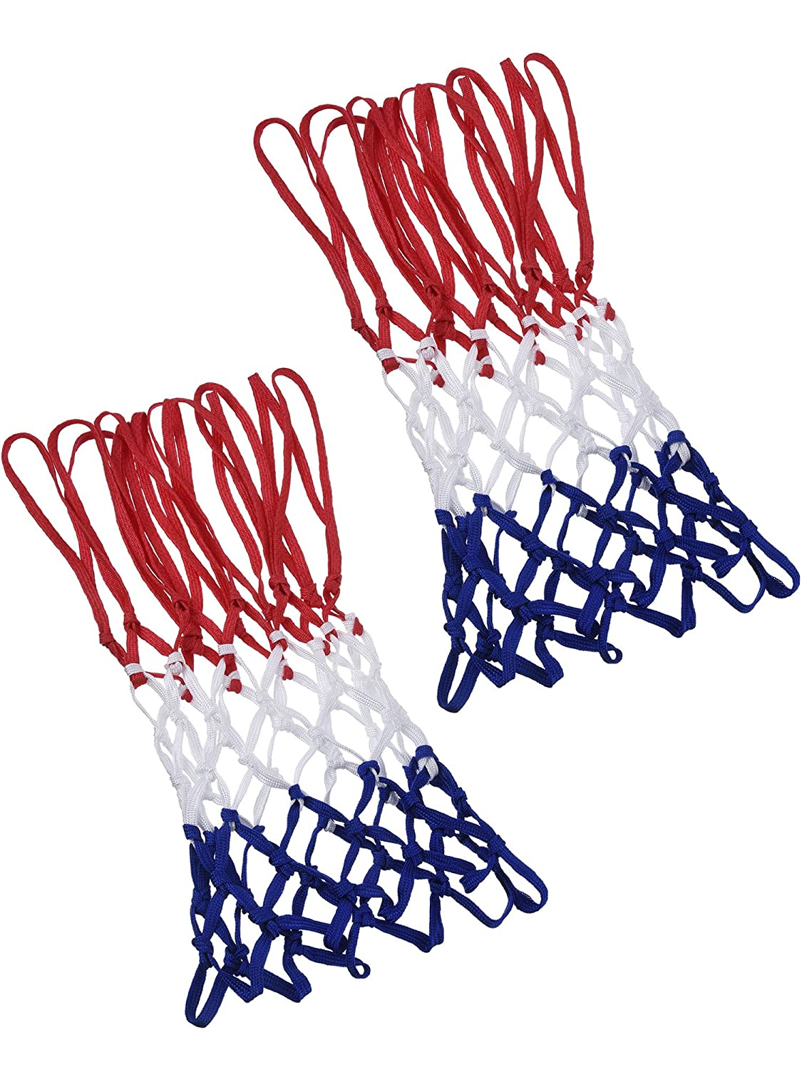 2 Pack 12 Loop Heavy Duty Basketball Net Fits Standard Indoor or Outdoor Basketball Hoop (Red/ White/ Blue) BBTO