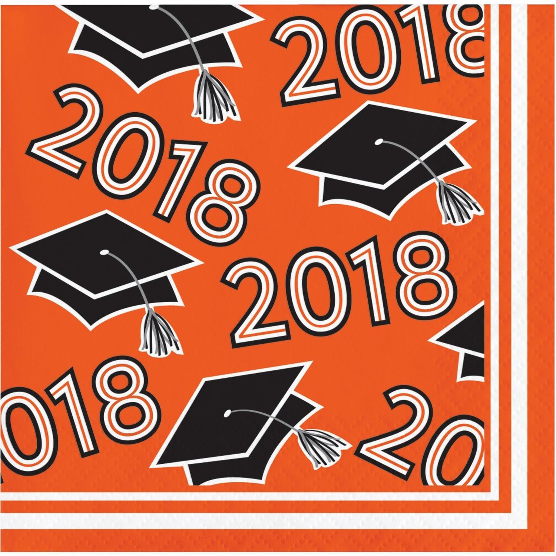 パック360オレンジとブラック卒業の帽子Printed飲料ナプキン5