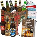 BIERE DER WELT Geschenk Box für Männer + gratis Bierbuch + Geschenkkarten + mehr. Bierset mit Bier aus Amerika + Asien + Tschechien + Belgien + Spanien … Geschenkset + Biergeschenke aus aller Welt