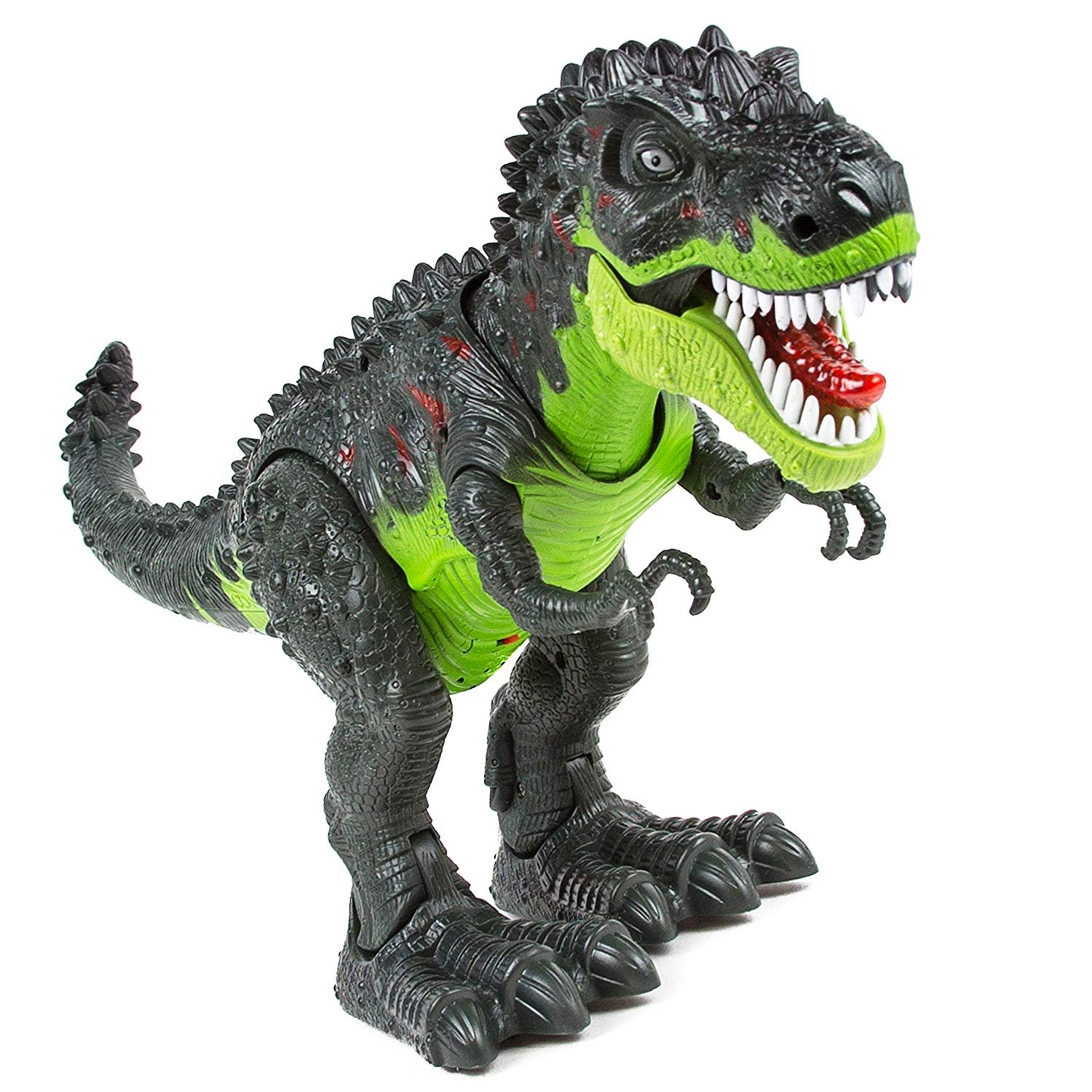 SY WonderPlay Tyrannosaurus T-Rex Dinosaur with Lights and Realistic Sounds Action Figure Toy - Light Up Eyes, Awesome Sounds - Walks on Its Own! - Great Gift Boys 3+,Battery Operate (Green)