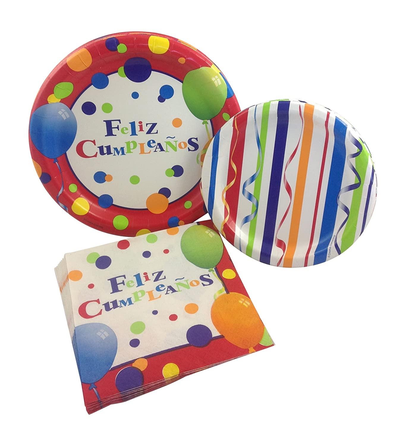 Feliz Cumpleaños Birthday Party Supply Pack! Bundle Includes Paper Plates & Napkins for 8 Guests