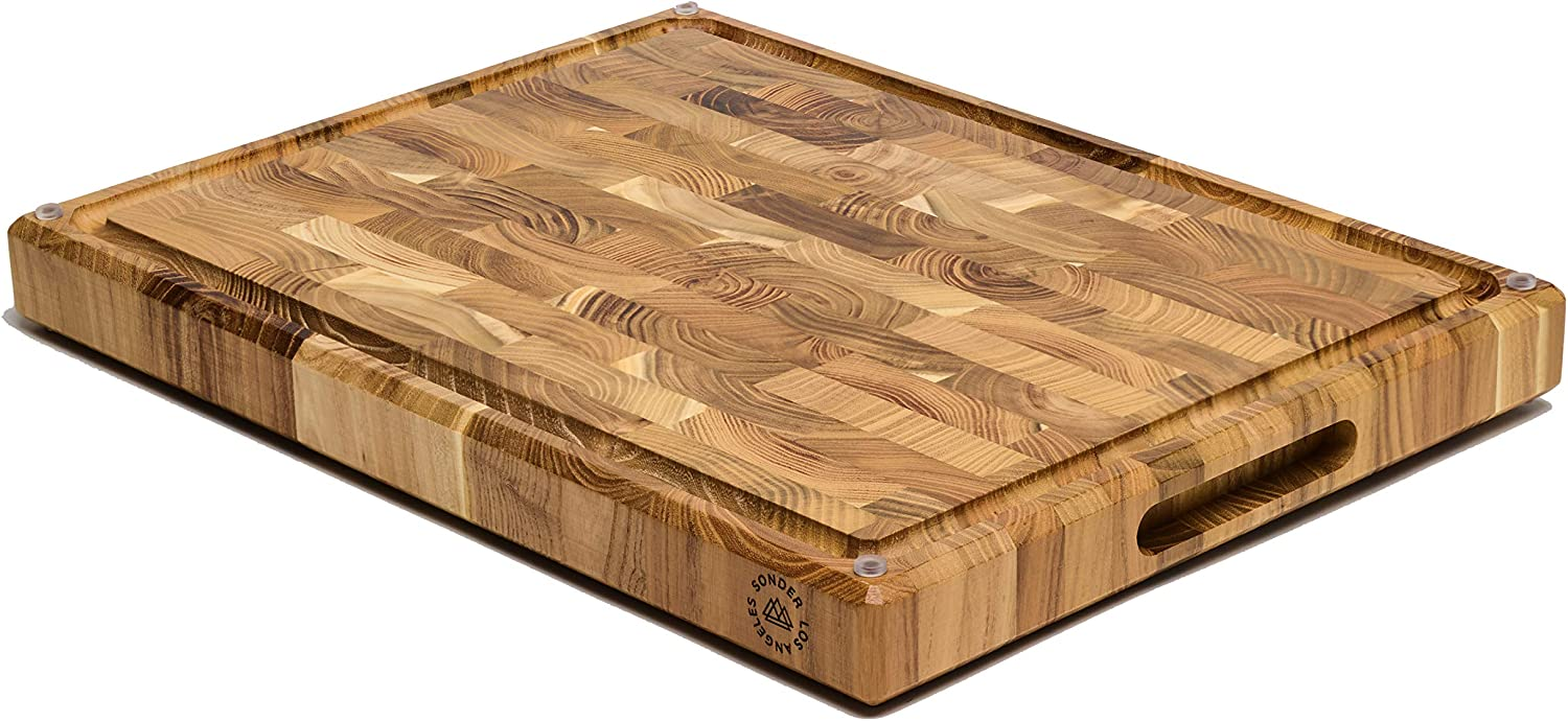 """Large Teak Wood Cutting Board, End Grain, 17 x 13 x 1.5"""" with Compartments, Juice Groove, and Rubber Feet (Gift Box Included) by Sonder LA"""