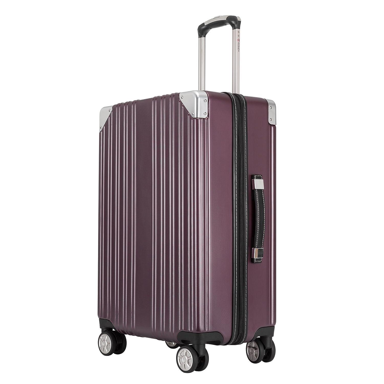 クロース(Kroeus) スーツケース ファスナータイプ 大型キャスター 8輪 キャリーケース 人気 大容量 軽量 TSAロック ソフトなハンドル 取扱説明書付 B07CJC64RD S|ワインレッド ワインレッド S