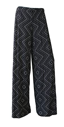 F4U reg  Damen-Hose, bedruckt, ausgestelltes, breites Bein, Palazzo-Hose 9fb5c3a0b6