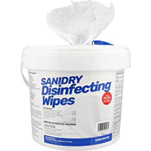 Rosmar SaniDry Disinfecting Wipes, 300 Count, Medical Grade, EPA Approved, Fresh Scent, White, Nonabrasive, Multi-Surface Cleaning Wipes, for Use in Health Facilities, Schools, Industrial, Household