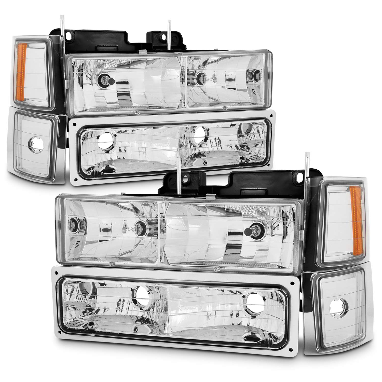 For 94-98 Chevy C//K 1500//2500//3500 Tahoe Suburban Full Size C10 Chrome Headlights Driver+Passenger Headlamp