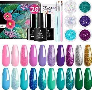 Beetles Mermaid Mantra 20 Colors Gel Nail Polish Kit, Soak Off UV Gel Polish Gel Polish Starter Kit with 1 Base Coat 1 Glossy & 1 Matte Top Coat 3 Nail Brushes 6 Colors Glitter 1 Mermaid Nail Stickers