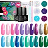 Beetles Mermaid Collection 20 Colors Gel Nail Polish Kit, Green Blue Pink Purple Soak Off UV Gel Polish Gel Polish Starter Kit with 1 Base Coat 1 Glossy & 1 Matte Top Coat 3 Nail Brushes 6 Colors Glitter 1 Mermaid Nail Stickers