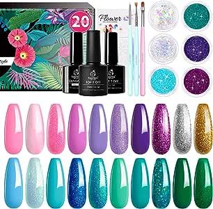Beetles Mermaid Collection 20 Colors Gel Nail Polish Kit, Green Blue Pink Purple Soak Off UV Gel Polish Gel Polish Starter Kit with 1 Base Coat 1 Glossy & 1 Matte Top Coat 3 Nail Brushes 6 Colors Glitter 1 Mermaid Nail Stickers