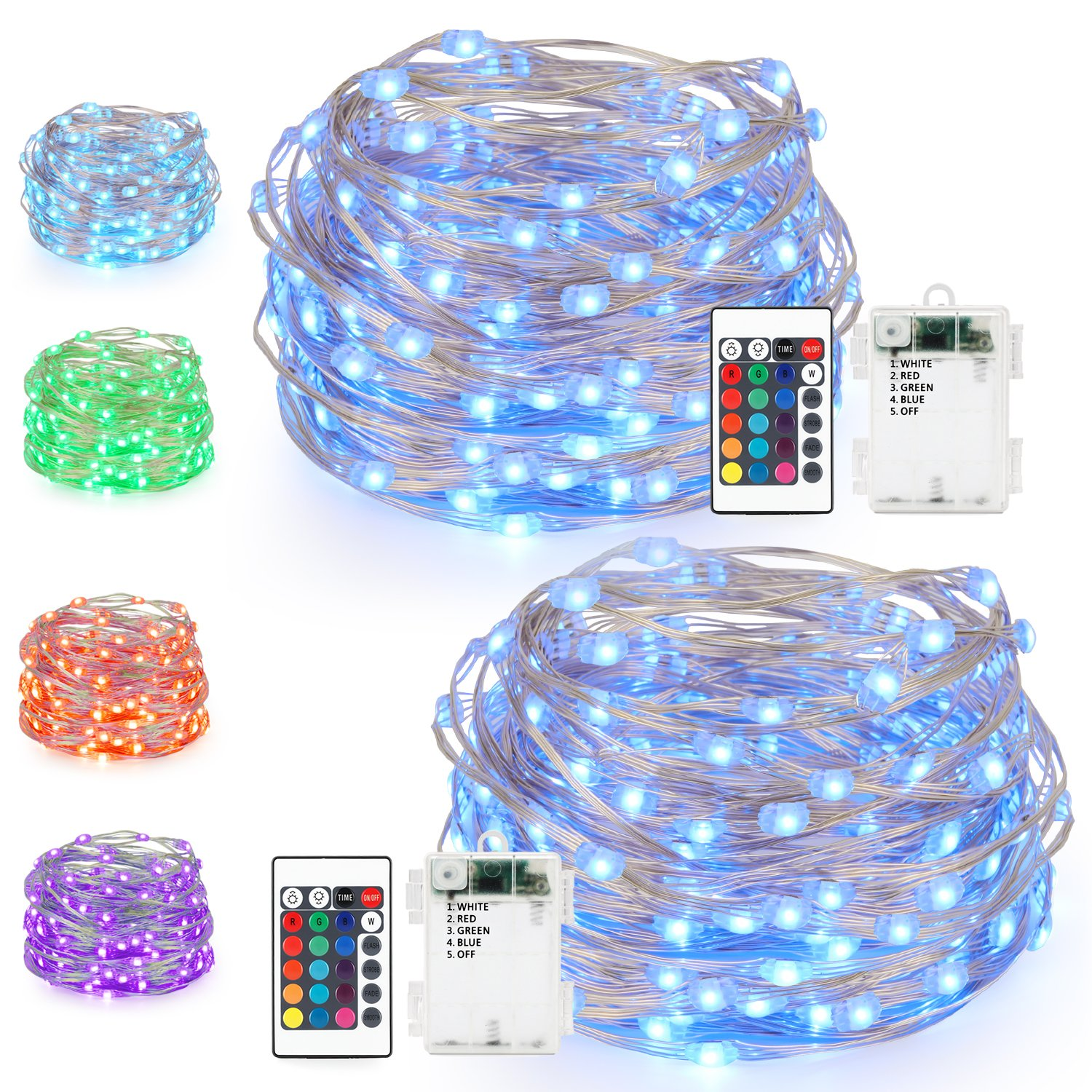 LED String Lights,Battery Powered Multi Color Changing String Lights with Remote,50 LEDs Indoor Decorative Silver Wire Lights for Bedroom,Patio,Outdoor Garden,Stroller,Christmas Tree 16ft, 2 Packs