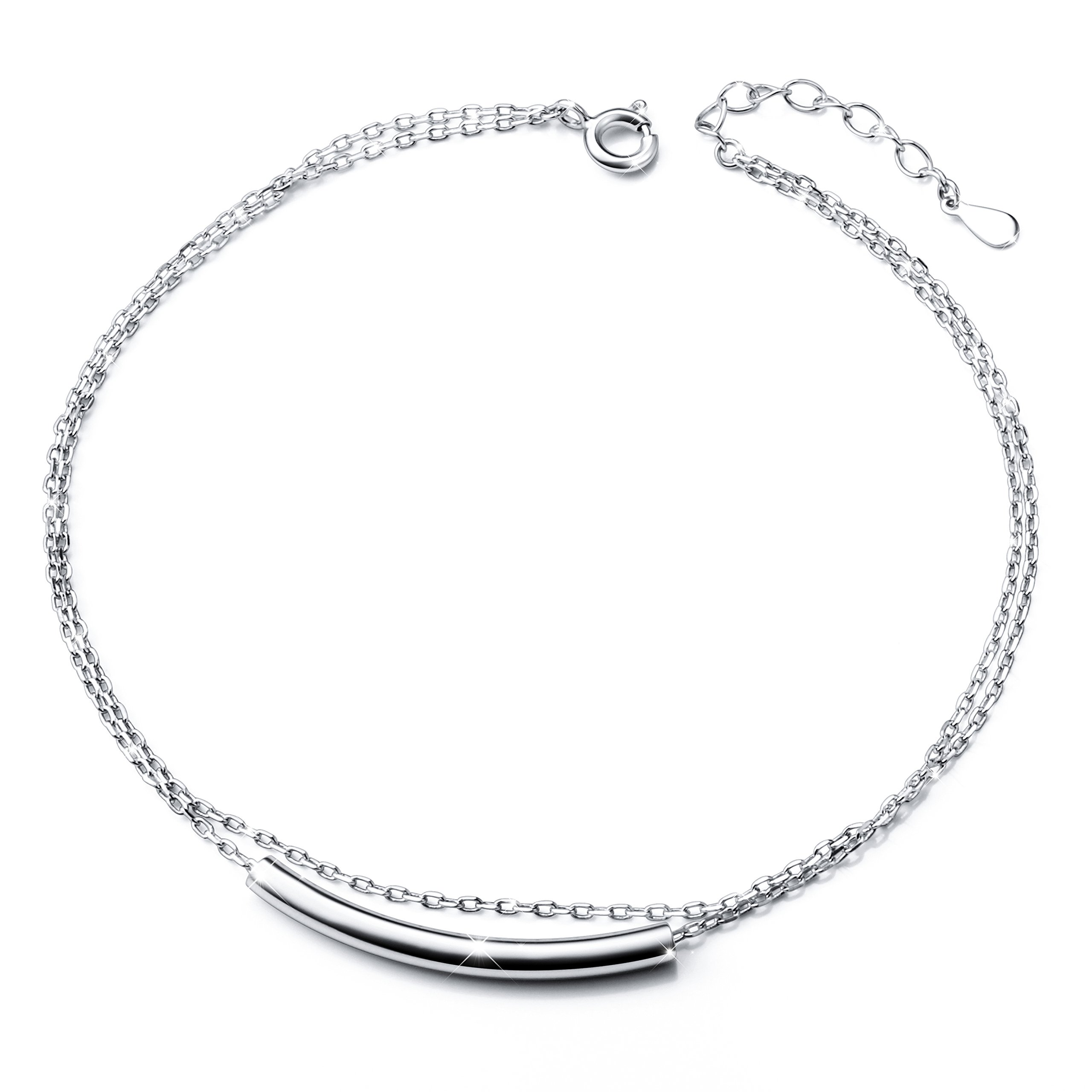 "SILVER MOUNTAIN Popular Double Layered Anklet for Women S925 Sterling Silver Adjustable Foot bracelet ""Mother's Day Gift"""