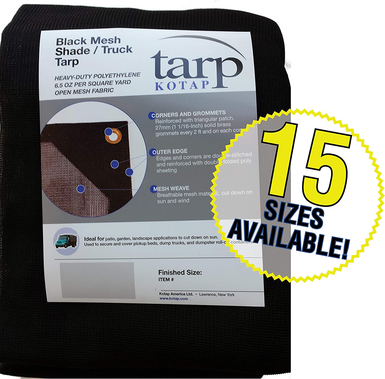 Kotap MESH-1018 Heavy-Duty Polyethtlene Mesh Shade/Truck Tarp for Patio, Garden and Landscape Applications, 6.5-Ounce, 10 x 18-Foot, Black