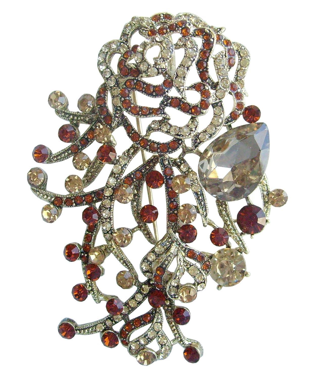 Sindary 2.75 Inch Gold-tone Topaz Rhinestone Crystal Flower Brooch Pendant