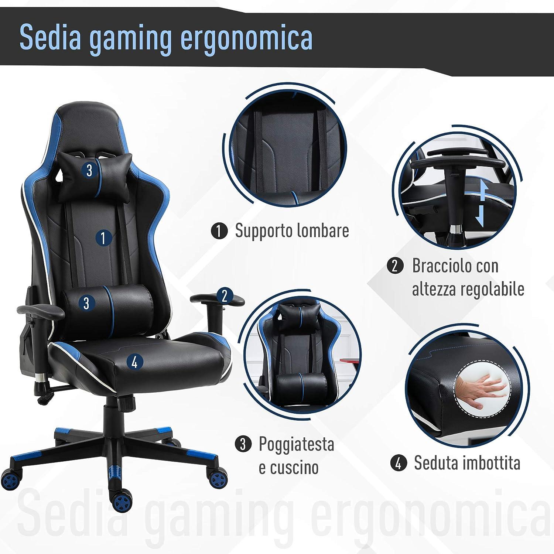 Sedia Ufficio con Poggiatesta e Cuscino Lombare Nera e Arancione Vinsetto Poltrona Gaming con Altezza Schienale Regolabile