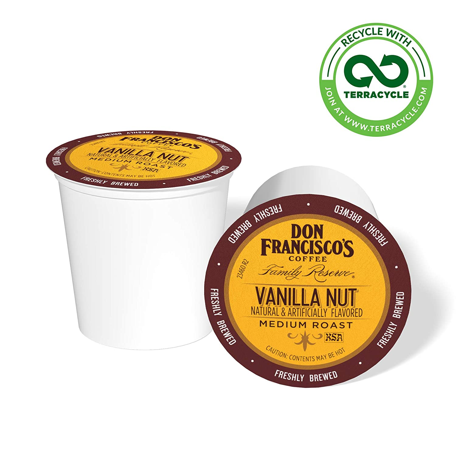 Don Francisco's Vanilla Nut Flavored (24 Count) Recyclable Single-Serve Coffee Pods, Compatible with Keurig K-Cup Brewers