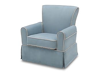 Delta Furniture Benbridge Upholstered Glider Swivel Rocker Chair, Frozen  Blue With Cream Welt