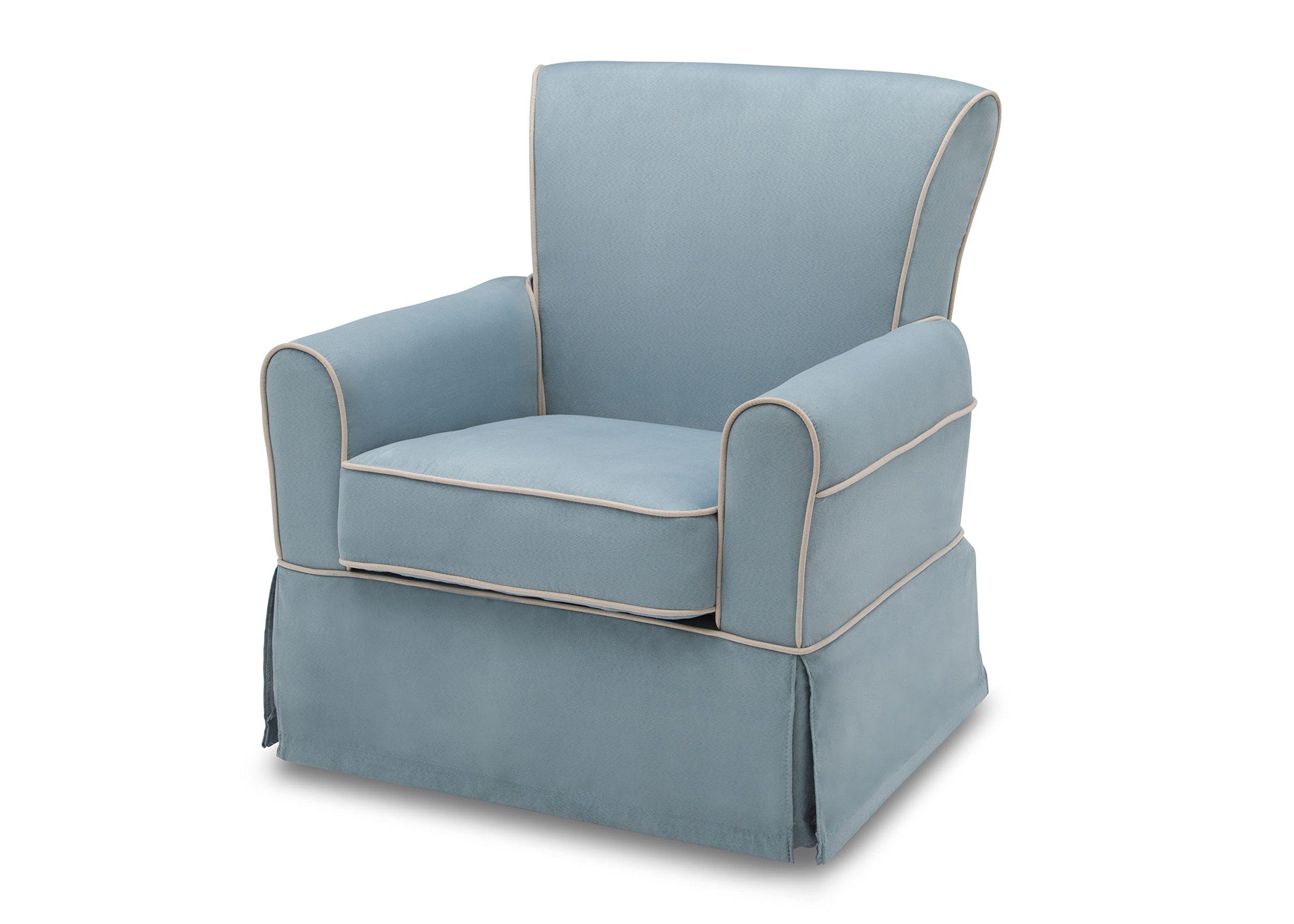 Delta Furniture Benbridge Upholstered Glider Swivel Rocker Chair, Frozen Blue with Cream Welt by Delta Furniture (Image #1)