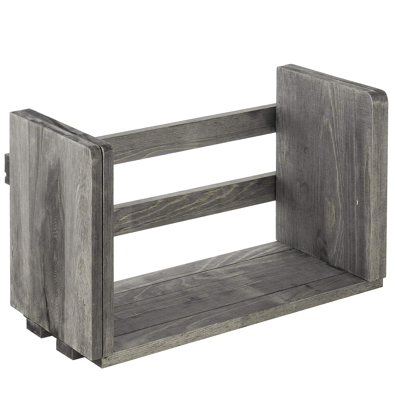MyGift Expandable Gray Wood Desktop Bookshelf Organizer Rack
