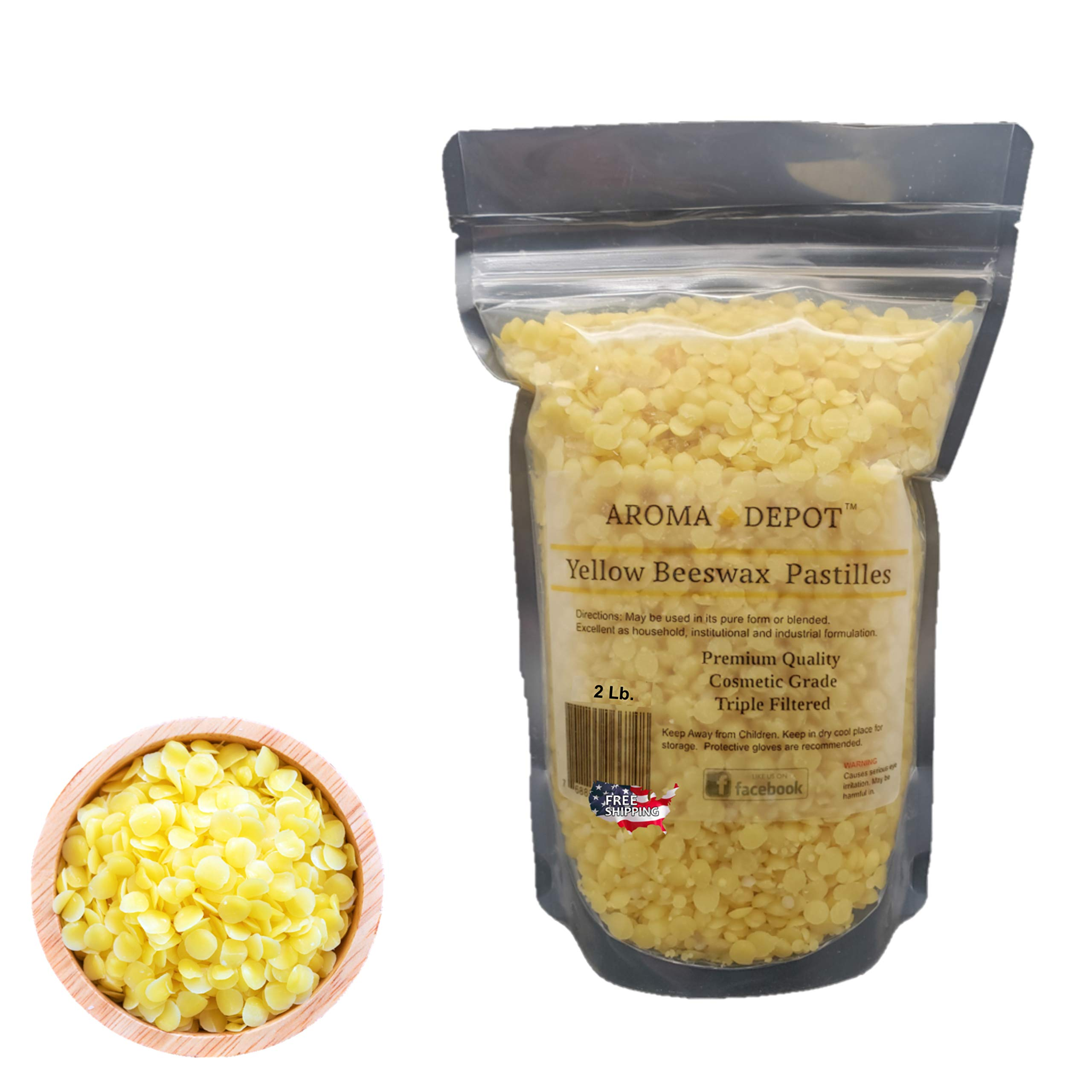 Aroma Depot 2lb / 32oz Yellow Beeswax Pellets 100% Natural Pure Bees Wax 3 x Filtered, Great for Skin, Face & Body, Ideal for DIY, Lotion, Creams, Soaps, Lip Balm and Candle Making Supplies. Easy Melt