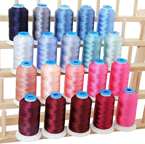 POLYESTER MACHINE EMBROIDERY THREAD SET 20 PASTEL COLORS 40WT 1000M CONES