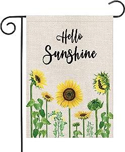 Summer Hello Sunshine Sunflower Garden Flag Burlap Vertical Double Sided 12.5 x 18 Inch Outdoor Decorations Seasonal Flags Yard Decor