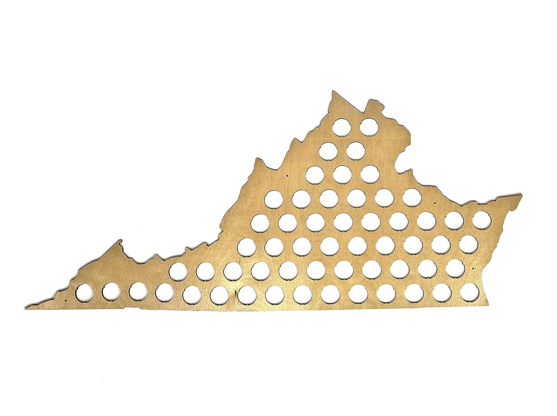 All 50 States Beer Cap Maps - Virginia Beer Cap Map VA - Glossy Wood - Skyline Workshop