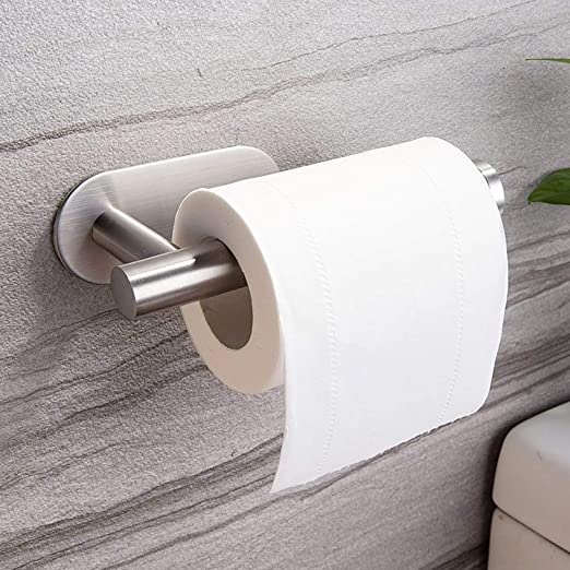 YIGII Toilet Paper Holder Self Adhesive Adhesive Toilet Roll Holder no Drilling for Bathroom Stainless Steel Brushed