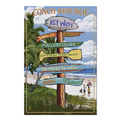 Key West, Florida - Conch Republic - Destinations Sign (Premium 500 Piece Jigsaw Puzzle for Adults, 13x19, Made in USA!): Toys & Games