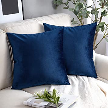 Phantoscope Pack of 2 Velvet Decorative Throw Pillow Covers Soft Solid Square Cushion Case for Couch Navy Blue 22 x 22 inches 55 x 55 cm