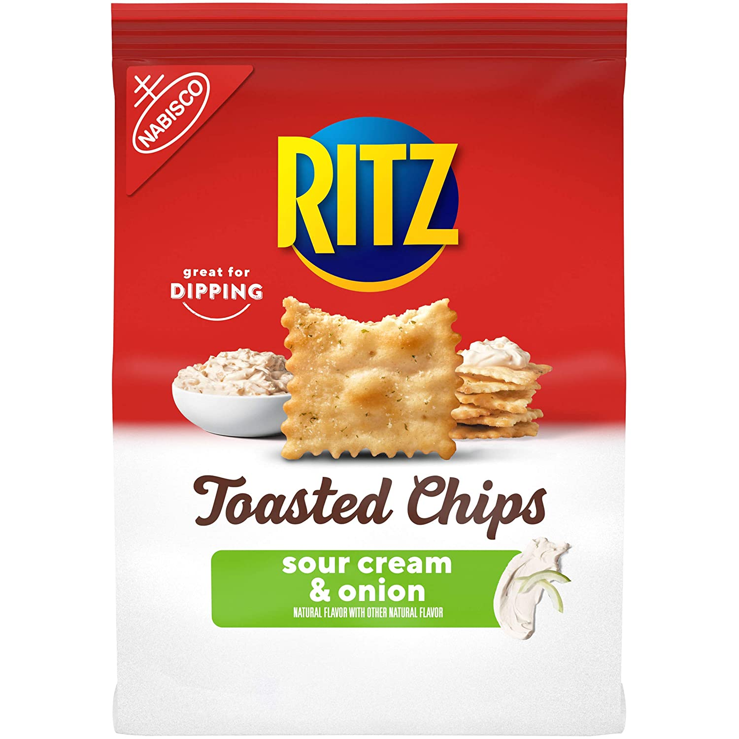 RITZ Toasted Chips Sour Cream and Onion Crackers, 8.1 oz