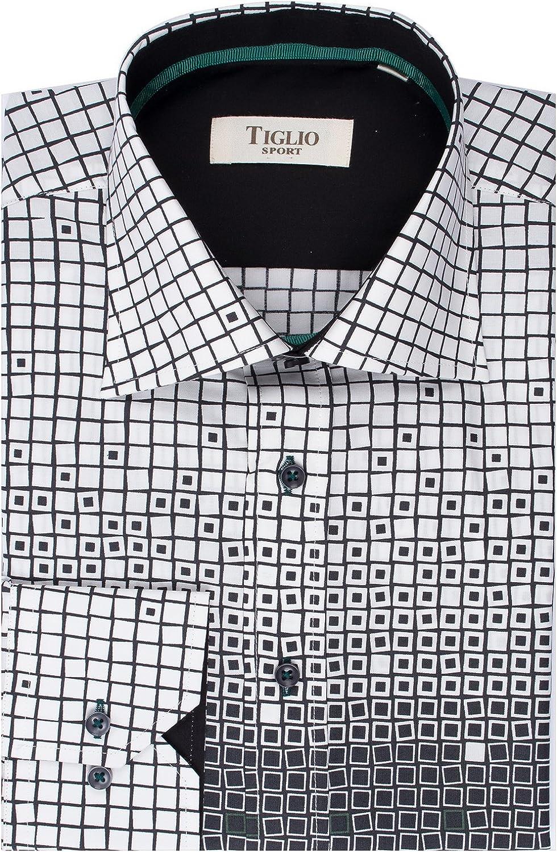 White with Black Geometric Pattern Sport Shirt by Tiglio Y6990//1